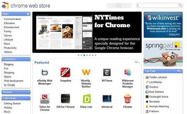Visual da Chrome Web Store