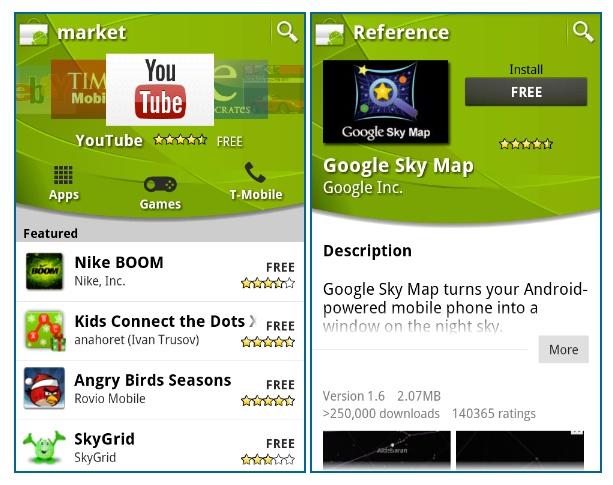 Nova interface do Android Market