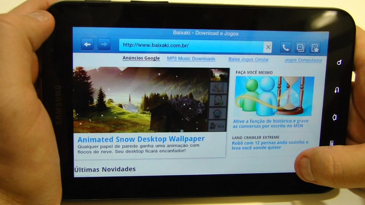 Navegação com o tablet da Samsung