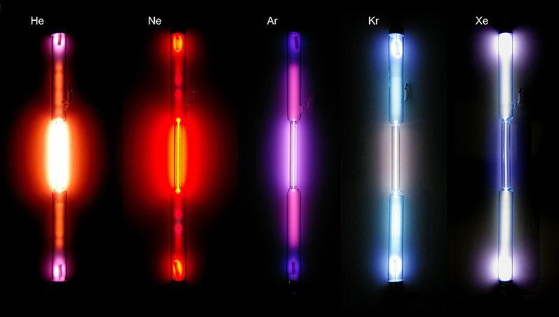 Tubos de descarga de plasma com gases nobres