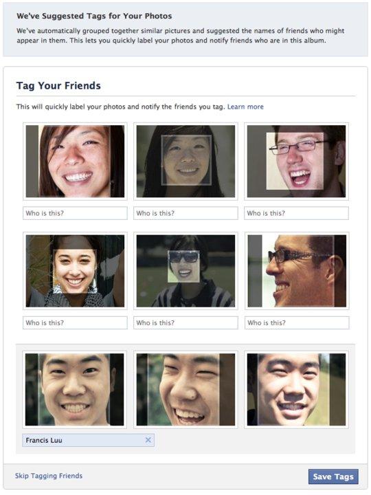 Sugestão de usuários para marcação nos álbums do Facebook