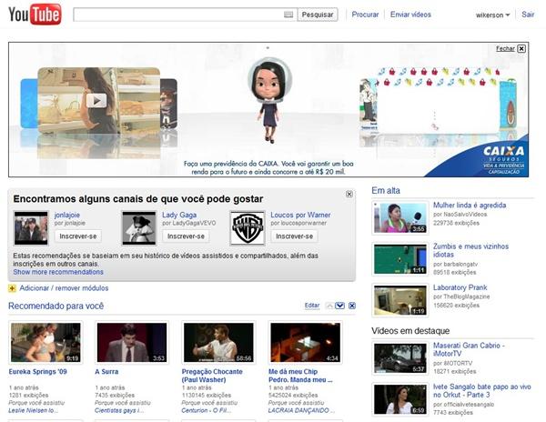 Novo visual da página inicial do YouTube