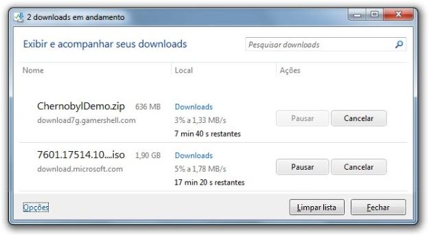 Gerenciador de downloads.