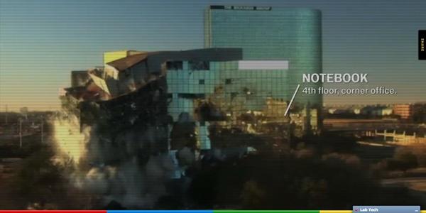 Notebook no quarto andar destruído com dinamite