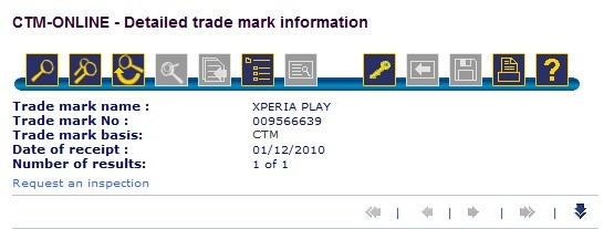 Especificações e registro do nome Xperia Play