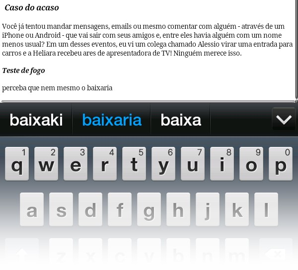 Nem mesmo o Baixaki escapou das falhas do corretor ortográfico automático