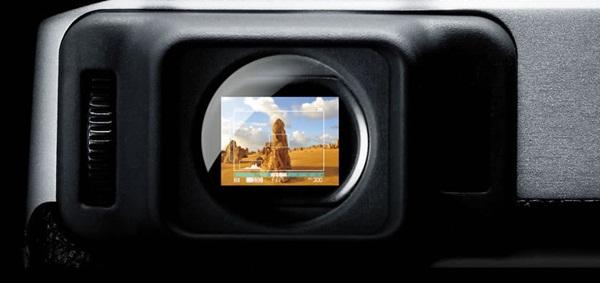 Visor híbrido da Fujifilm Finepix X100. Foto: Divulgação/Fujifilm