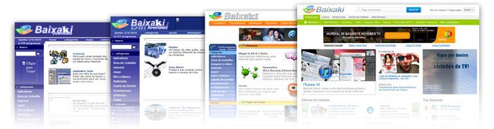 Mudança de layout do Baixaki ao longo dos anos.