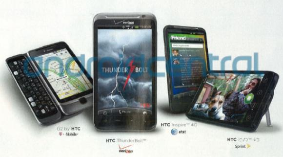 Anúncio na Rolling Stone mostrando os smartphones  HTC Thunderbolt e Inspire