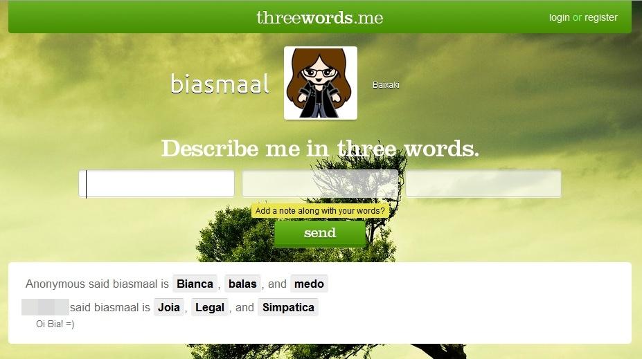 Página do Three Words para seus amigos comentarem sobre você