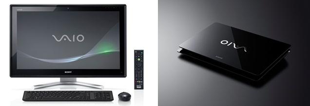 Produtos das novas linhas VAIO L e VAIO F da Sony. Foto: Divulgação.