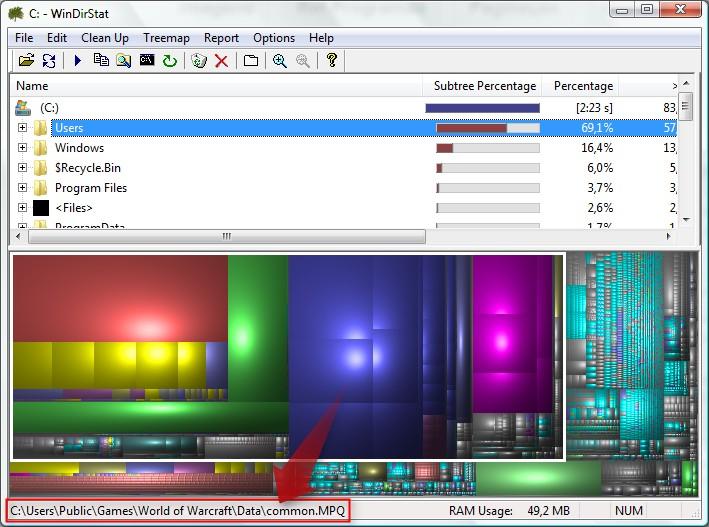 Barra de status mostrando o diretório em que o arquivo está.