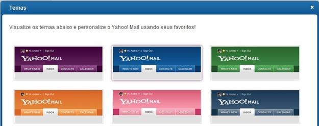 Novos temas para o Yahoo! Mail.