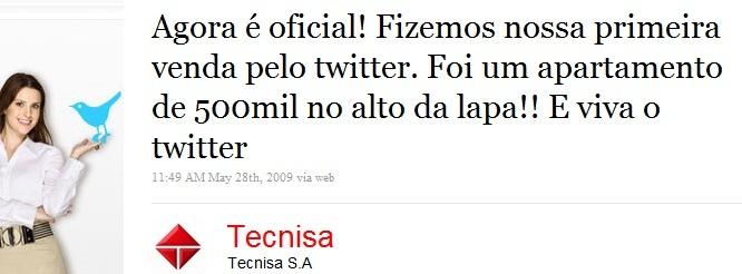 Tecnisa informa que vendeu apartamento via Twitter