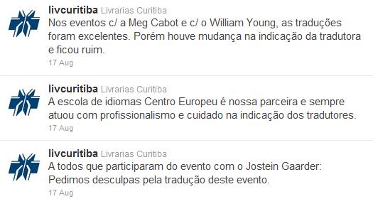 Pedido de desculpas e explicações das Livrarias Curitiba