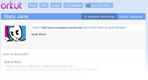 Perfil da Mary Jane no Orkut