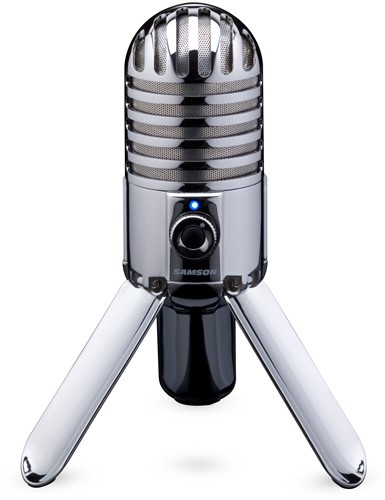 Microfone USB com visual retrô.