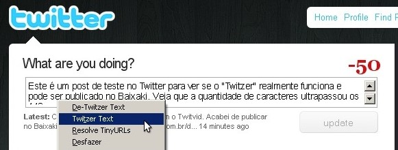 Interface do Twitzer