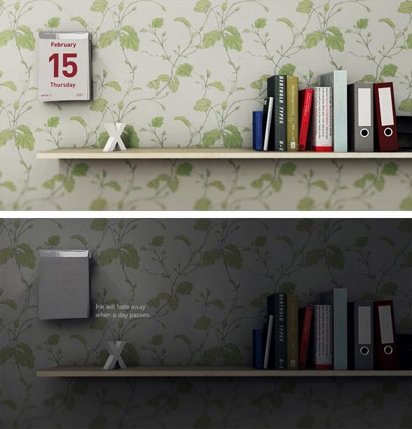 Calendário com tinta reativa, que some com o passar do dia. Fonte da imagem: Shi Yuan