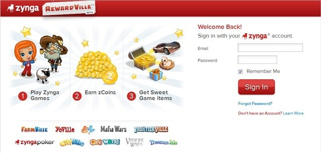 RewardVille: sistema de recompensas dos jogos Zynga. Fonte da imagem: Reprodução.