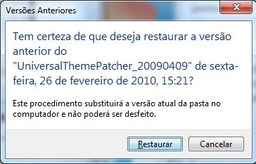 Um arquivo restaurado substitui o arquivo atual no disco.