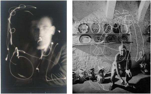 À esquerda, a Escrita Espacial de Man Ray. à direita, Picasso e o centauro