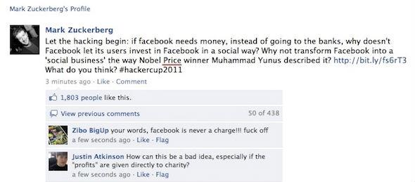Página de Mark Zuckerberg hackeada no Facebook
