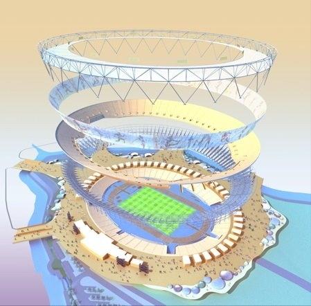 Renderização da estrutura do estádio.