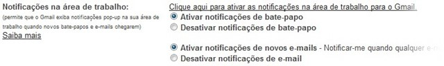 Configurações do Gmail.