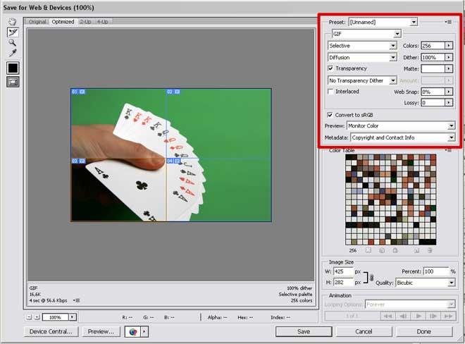 Escolha o formato para salvar as suas fatias de imagem!