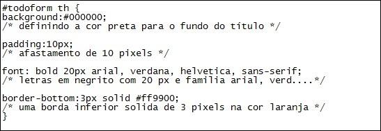 Exemplo de código em CSS