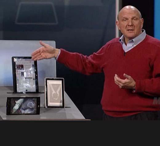 Steve Ballmer apresenta protótipo de tablet na CES 2010.
