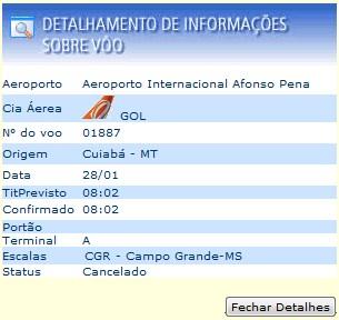 Consulte seu voo no site da Infraero.