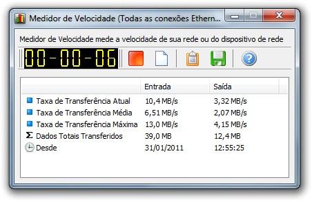 Medidor de velocidade do NetWorx.