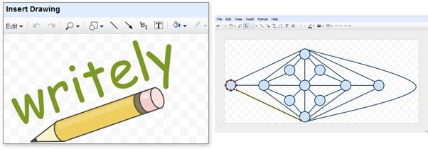 Inserção de desenhos e diagramas