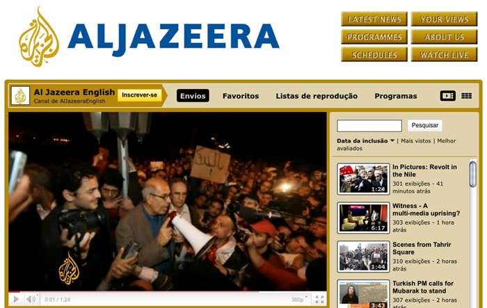 TV Al Jazeera transmite caos no Egito via YouTube.