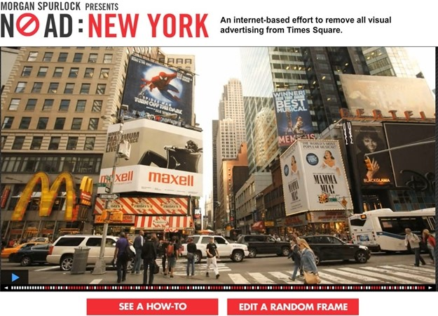 Site promove a limpeza virtual da Times Square.