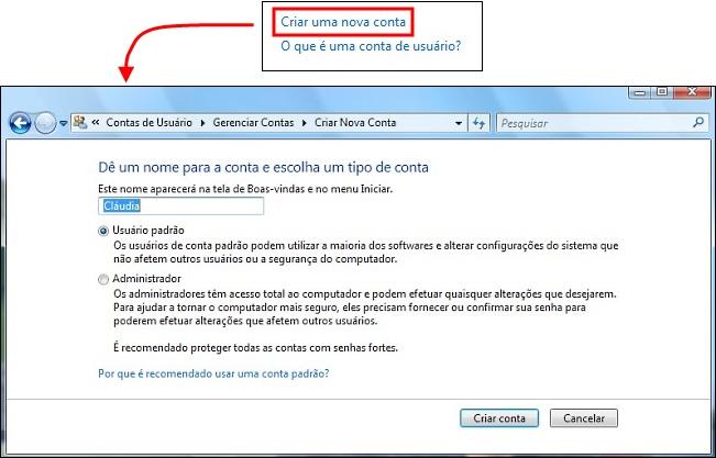 Crie uma Nova Conta para o Windows.