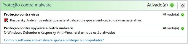 Configurações de Malwares da Central.