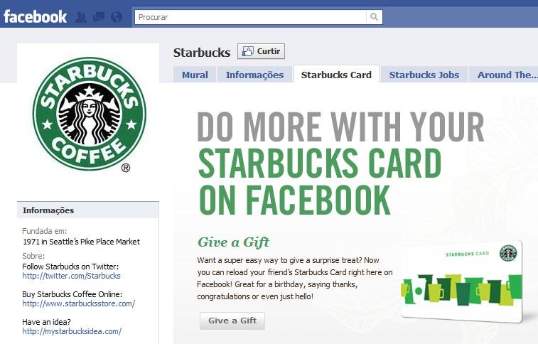 Página do Starbuck, uma das mais acessadas