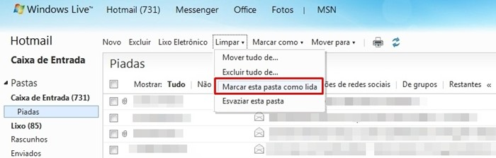 Limpar no Hotmail