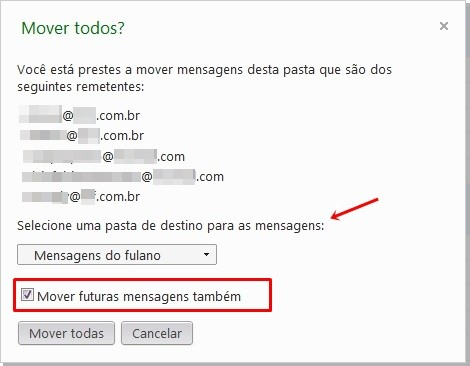 Direcionando para as pastas do Hotmail