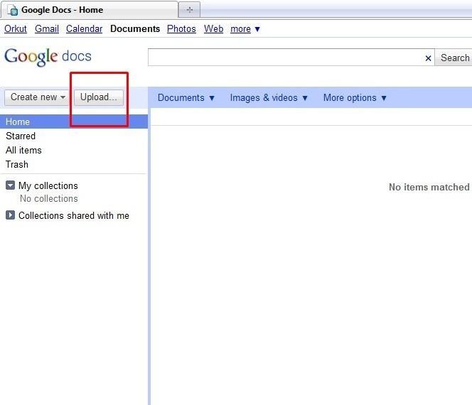 Abra o Google Docs e comece o upload.