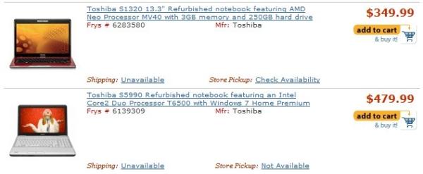 Notebooks Toshiba refurbished no site Frys.com