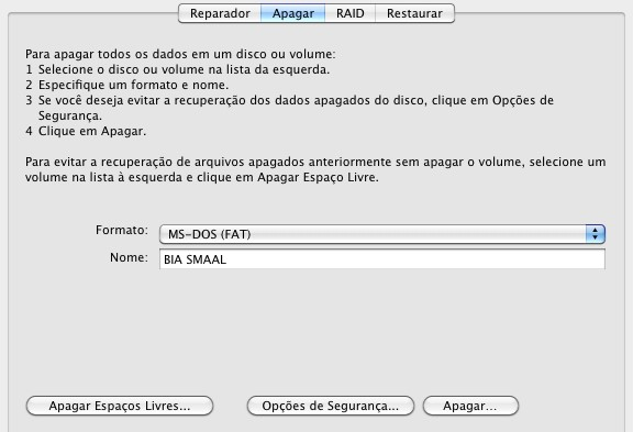 Formatação no Mac