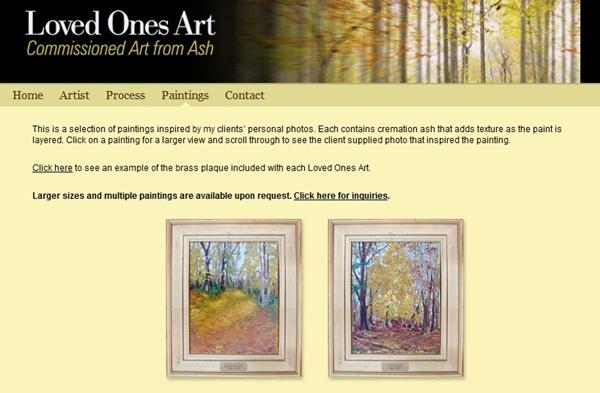 Algumas das pinturas nas quais suas cinzas podem se transformar