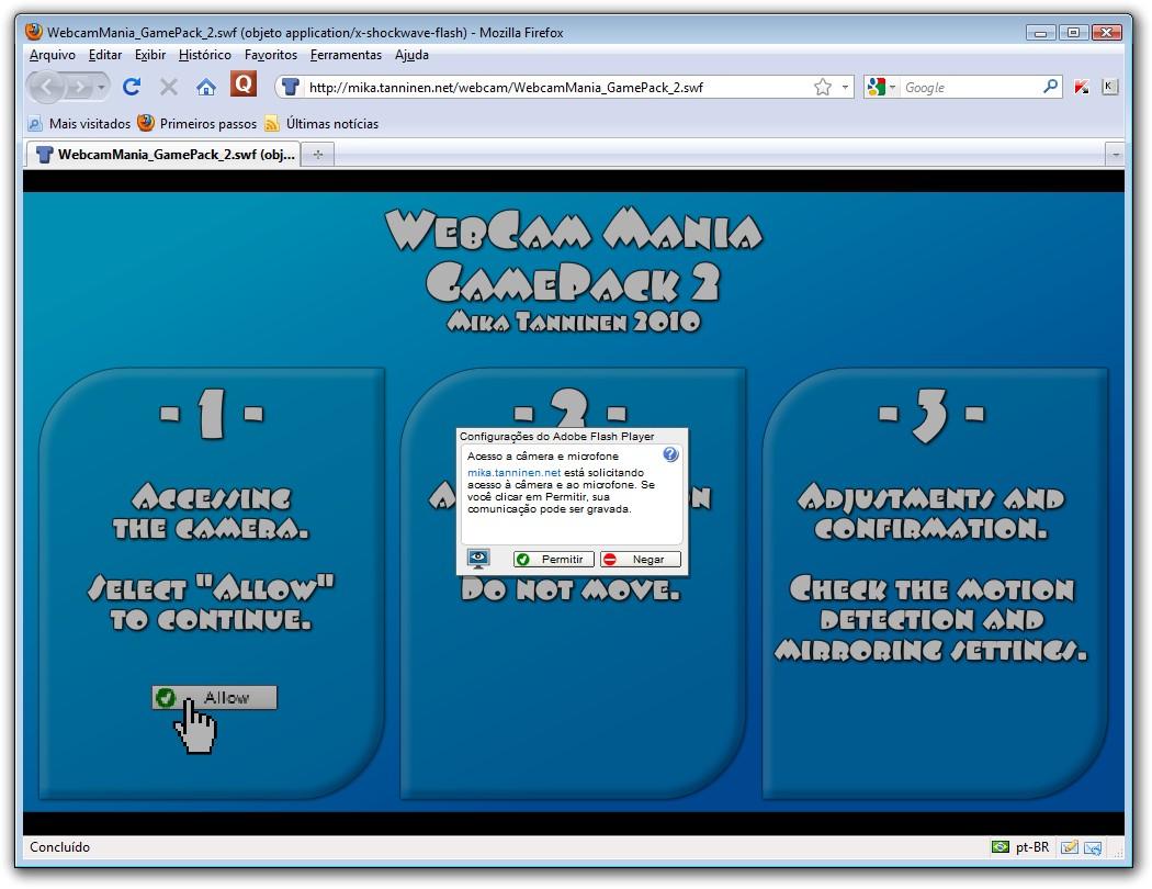 A tela inicial do WebCam Mania.