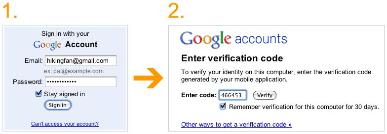 Dois passos para acessar sua conta.