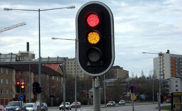 Semáforo de LEDs utilizado na Suécia