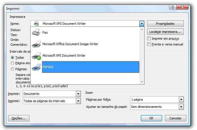 Selecione a impressora do PDF955